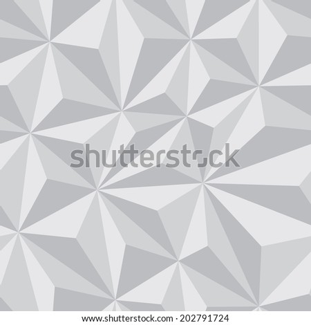 Abstract Seamless Background with Relief Triangles in grayscale color - geometric vector pattern for creative design projects. - stock vector