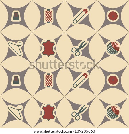 abstract seamless background with sewing accessories