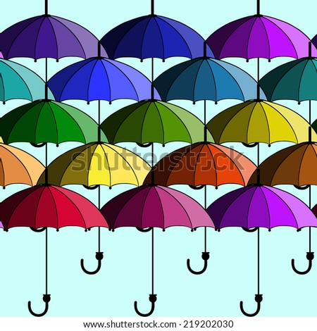 Abstract seamless background with umbrellas. Vector illustration - stock vector