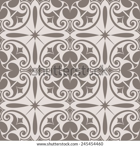 Abstract seamless beige ornate vector pattern. - stock vector