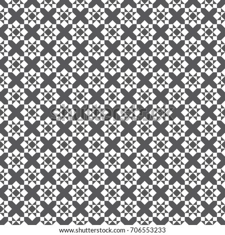 Abstract Seamless Black and White Art Deco Lattice Vector Pattern