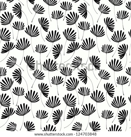 Abstract seamless black and white floral texture. Template for design and decoration - stock vector