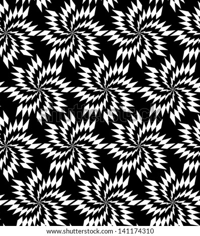 Abstract seamless black and white inverted vector pattern with thorny whirligigs. Easy to change the colors. - stock vector