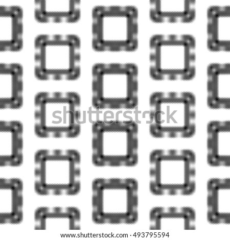 Abstract seamless black and white pattern of squares. Polygonal seamless blurred pattern