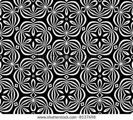 Abstract seamless black-and-white pattern - vector illustration - stock vector