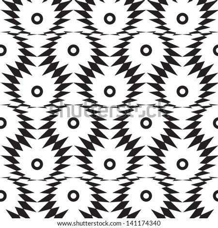Abstract seamless black and white vector pattern with thorny eyes. Easy to change the colors. - stock vector