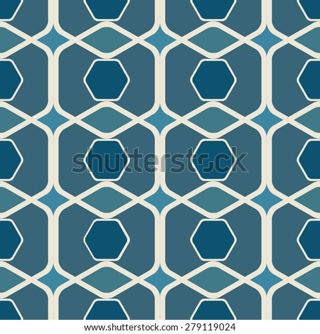 Abstract seamless blue rounded hexagons vector background. - stock vector