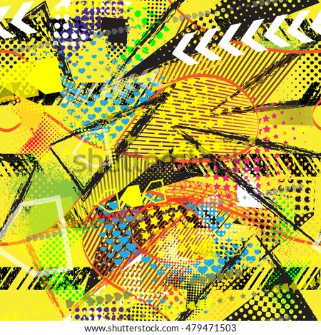 Abstract Seamless Chaotic Pattern For Textile Yellow Wallpaper With Neon Lightning Geometric Elements Guys