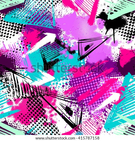 Abstract seamless chaotic pattern with urban geometric elements, scuffed, drops, triangles, spots, sprays. Grunge neon texture background. Wallpaper for boys and girls - stock vector