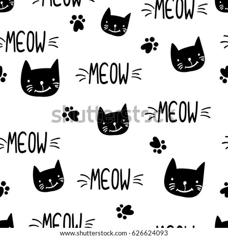 Abstract Seamless Childish Pattern. Girlish Repeated Backdrop On White  Background With Text Meow, Cats