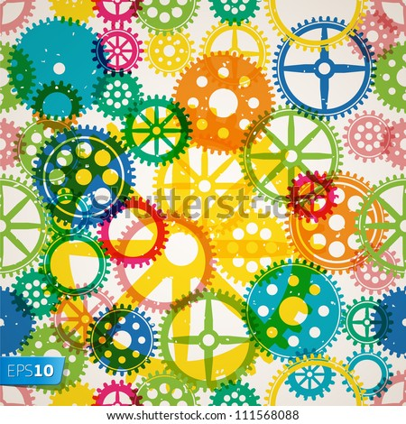 Abstract seamless clockwork background, vector Eps 10 illustration. - stock vector