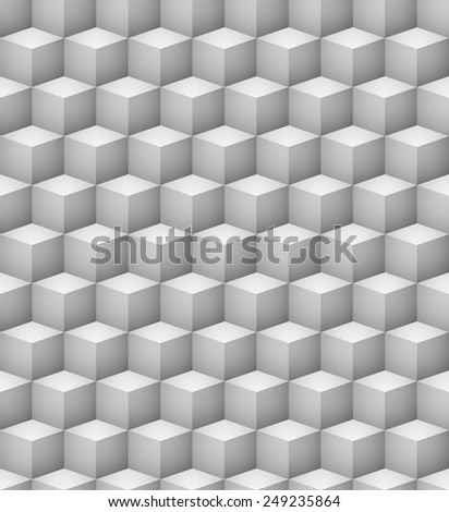 Abstract seamless 3D white cubes vector background. - stock vector