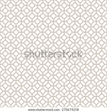 Abstract Seamless Decorative Geometric Light Gold & White Pattern - stock vector