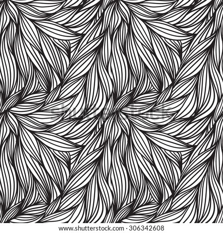 Abstract Seamless Doodle Black and White Pattern - Wallpaper, Background - stock vector