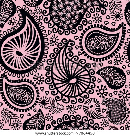 Abstract seamless doodle pattern-model for design of gift packs, patterns fabric, wallpaper, web sites, etc.
