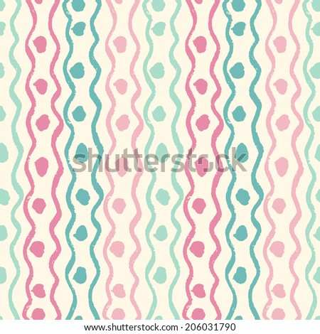Abstract seamless ethnic pattern, hand-painted. Seamless pattern can be used for wallpaper, pattern fills, web page background, surface textures. - stock vector