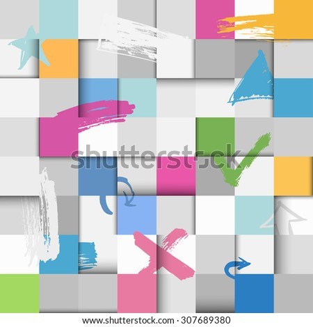 Abstract seamless flat paper squares background with brush strokes - stock vector