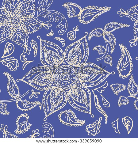 Abstract seamless floral pattern of beige colored hand drawn by pencil outline fantasy leaves, flowers and curly branches on a dark blue background. Floral ornate print