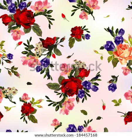 Abstract seamless floral pattern with of  red roses and pink and blue freesia. Vector background. - stock vector