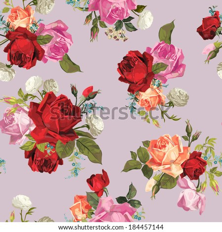 Abstract seamless floral pattern with of white, pink, red and orange roses. Vector background. - stock vector