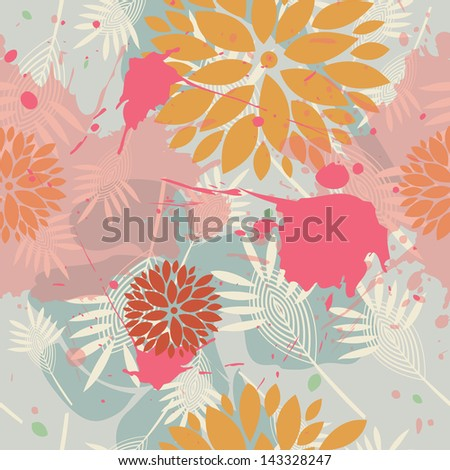 Abstract seamless floral pattern with watercolor stains.
