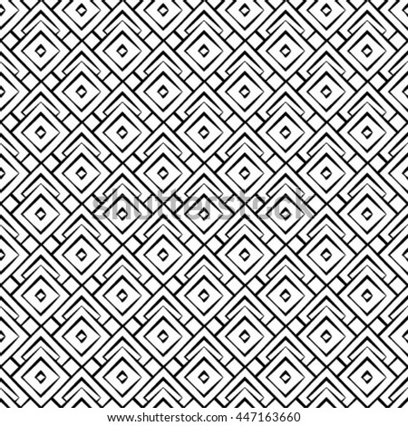 Abstract seamless geometric monochrome pattern. Vector texture background