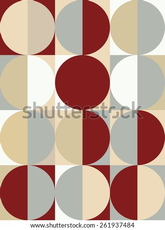 Abstract seamless geometric pattern, multicolored circles and squares - stock vector