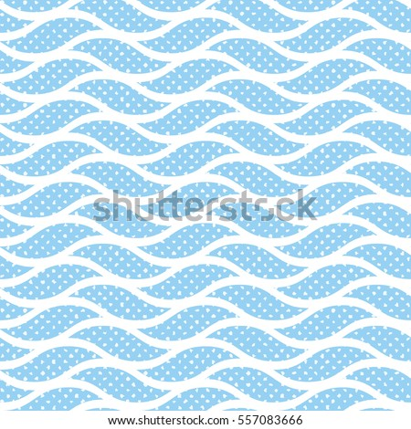 Abstract Seamless Geometric Wave Repeating Blue And White Pattern Endless Texture Can Be Used For