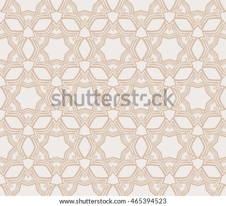 Abstract seamless geometry pattern. mirror transformation of geometry shapes. Vector illustration. For the interior design, printing, textile industry. Beige color