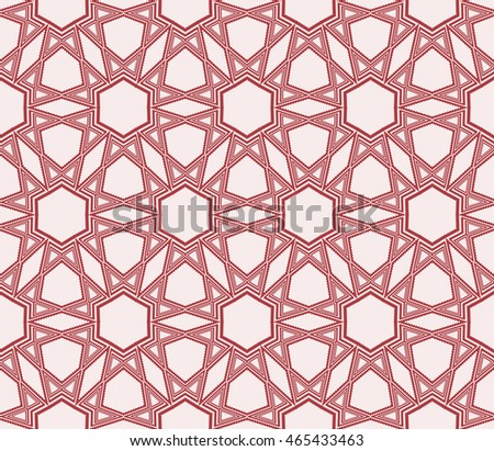 Abstract seamless geometry pattern. mirror transformation of geometry shapes. Vector illustration. For the interior design, printing, textile industry. Red color