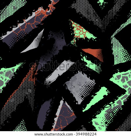 Abstract seamless grunge pattern for boy and girl. Creative modern background with original design. Urban style for clothes, textile, sport,  fashion. Geometric grunge pattern - stock vector