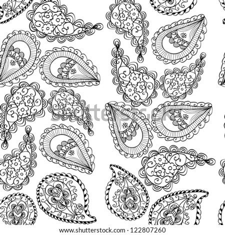 Abstract Seamless Hand-Drawn Paisley Pattern - stock vector