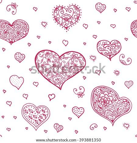 Pattern Hearts Doodle Style Word Love Stock Vector 1019176657 ...
