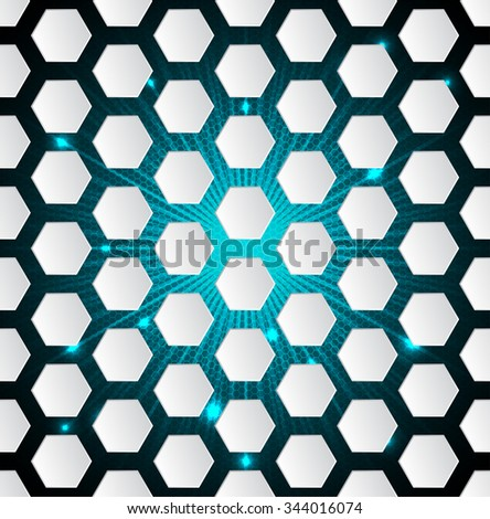 Abstract seamless hexagon pattern background with 3d and bursting effect - stock vector