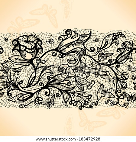 Abstract seamless lace pattern with flowers and butterflies. Infinitely wallpaper, decoration  - stock vector