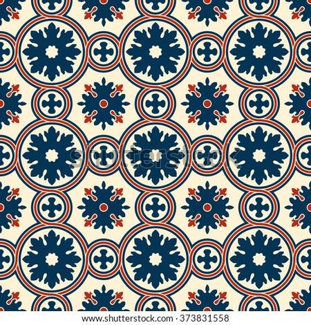Abstract seamless ornamental vector pattern. Renaissance decorative wallpaper. Vintage background - stock vector