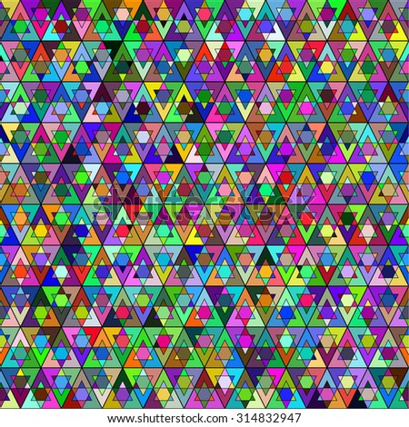 Abstract seamless pattern. A geometric design. Multi-colored triangles. Bright cheerful background. Symmetry. Vector illustration.