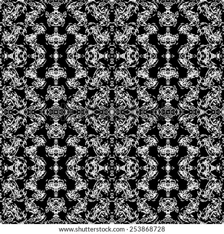 Abstract seamless pattern. Black and white background made with chalk.Vector illustration.Monochrome modern backdrop.  - stock vector
