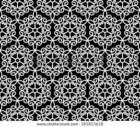 Abstract seamless pattern, black and white vector lace texture  - stock vector