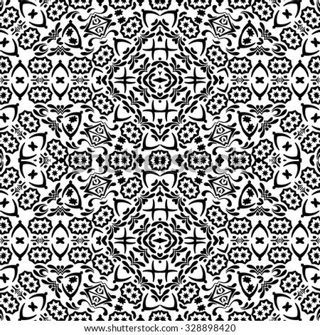 Abstract Seamless Pattern, Black Contours Isolated on White Background. Vector - stock vector