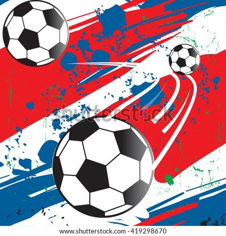 Abstract seamless pattern for boy. Grunge sport texture.  background with  France football championship with ball and france flag colors. - stock vector