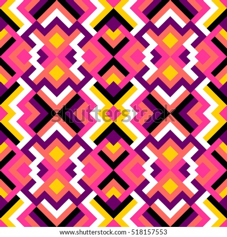 Abstract seamless pattern for design. Vector geometric background of triangles in white, black, pink and yellow colors. Mosaic texture