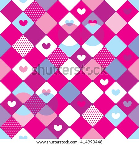 Abstract seamless pattern for girls. Childish background in light tender colors with geometric elements, rhombus, dots, hearts. - stock vector