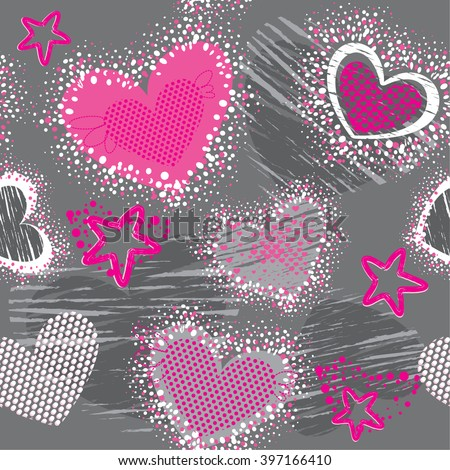 Abstract seamless pattern for girls. Creative vector background with hearts, dots, lines, stars in pink, grey and white colors. Funny wallpaper for textile and fabric. Fashion style.  - stock vector