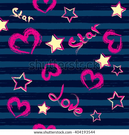 Abstract seamless pattern for girls. Neon colors. Wallpaper with hearts, stars for children. Creative design for fabric and textile, Dark blue background with funny style. - stock vector