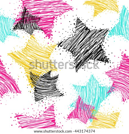 Abstract seamless pattern for girls. Neon pattern. Stars background in neon colors. White background with bright colorful stars. repeated stars pattern. Fashion girlish wallpaper for clothes. - stock vector