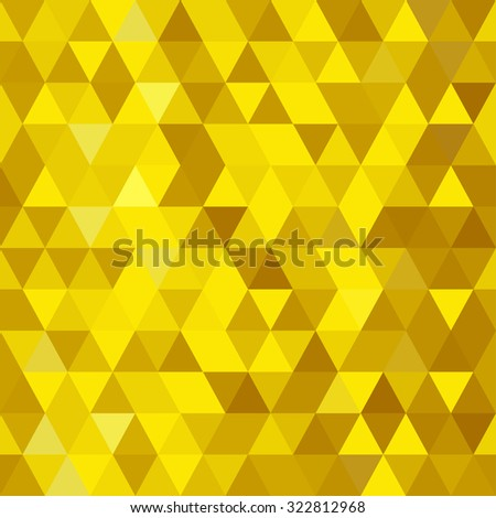 Abstract seamless pattern. Geometric backdrop. Polygonal crystal texture. Triangular texture. Yellow shine. Shiny gold background. - stock vector