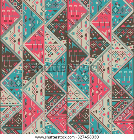 Abstract Seamless Pattern. Geometric background. Bright retro colors. Abstract decorative borders