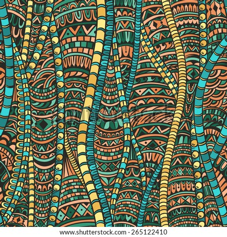 Abstract seamless pattern in ethnic style. Zentangle. - stock vector