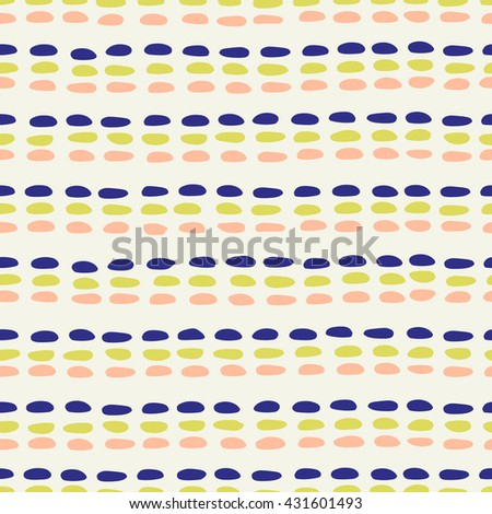 Abstract seamless pattern in indigo blue, green and pink.